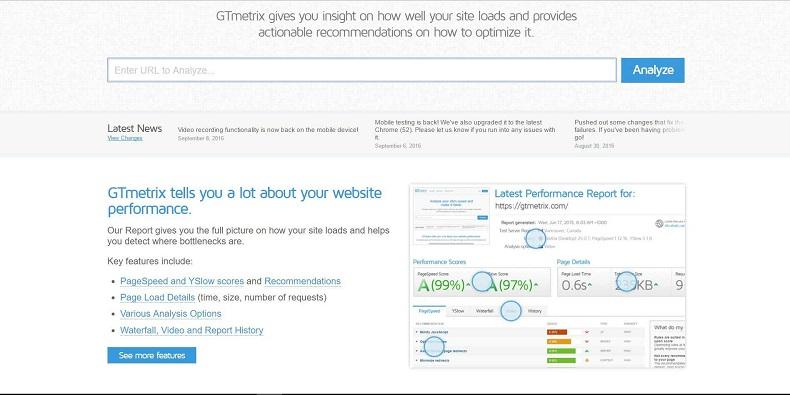 pomiar prędkości strony internetowej przez Gtmetrix