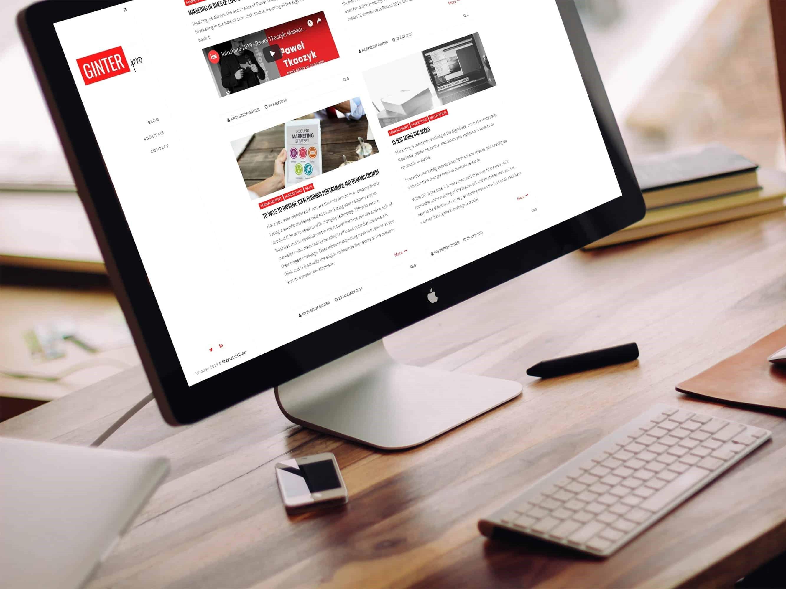 Projekt strony internetowej dla blogera - desktopo - Agencja Marketingowa OzonMedia z Wrocławia