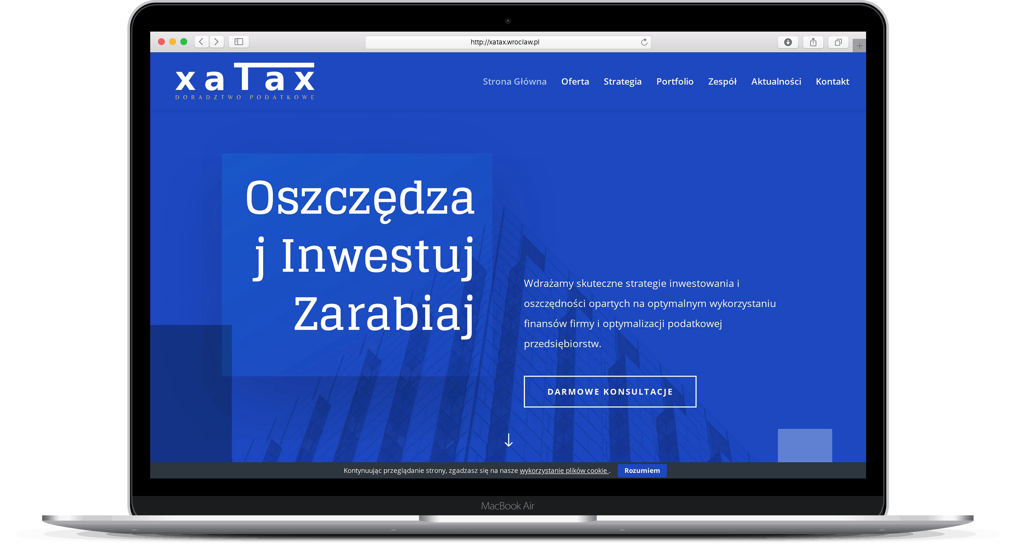 Projekt strony internetowej dla kancelarii podatkowej laptop - Agencja Marketingowa OzonMedia z Wrocławia