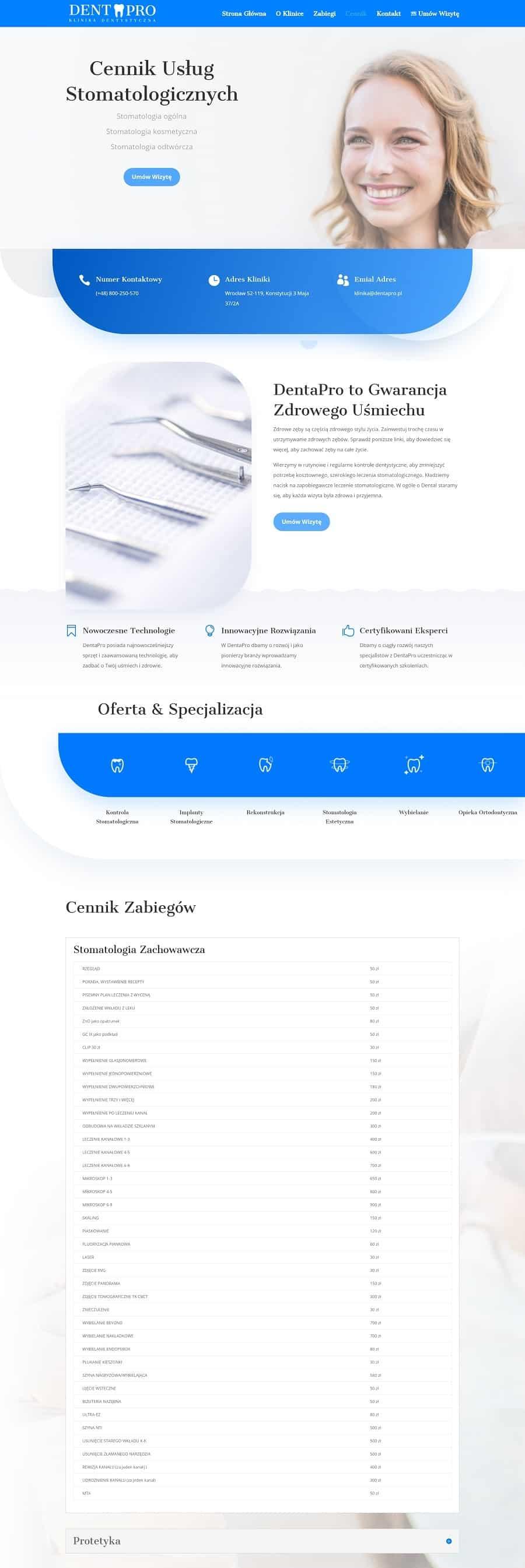 Strona dla Kliniki Stomatologicznej - Agencja Marketingowa OzonMedia z Wrocławia