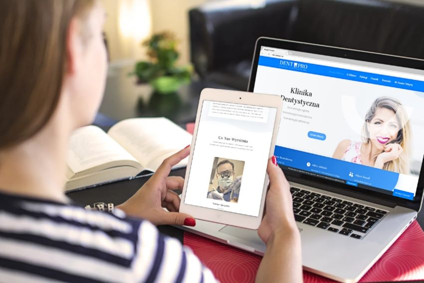 Strona dla Kliniki Dentystycznej - tablet - Agencja Marketingowa OzonMedia z Wrocławia