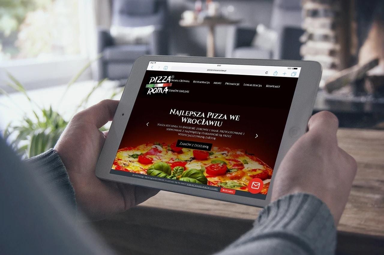 Strona internetowa dla pizzerii - tablet - Agencja Marketingowa OzonMedia