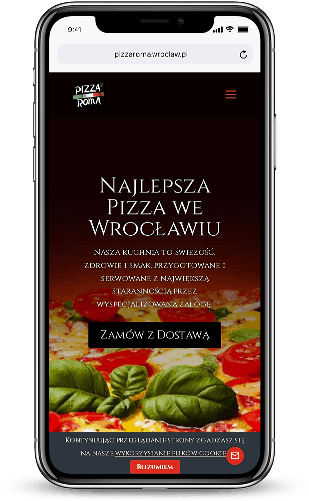 Strona internetowa dla pizzerii - mobile - Agencja Marketingowa OzonMedia