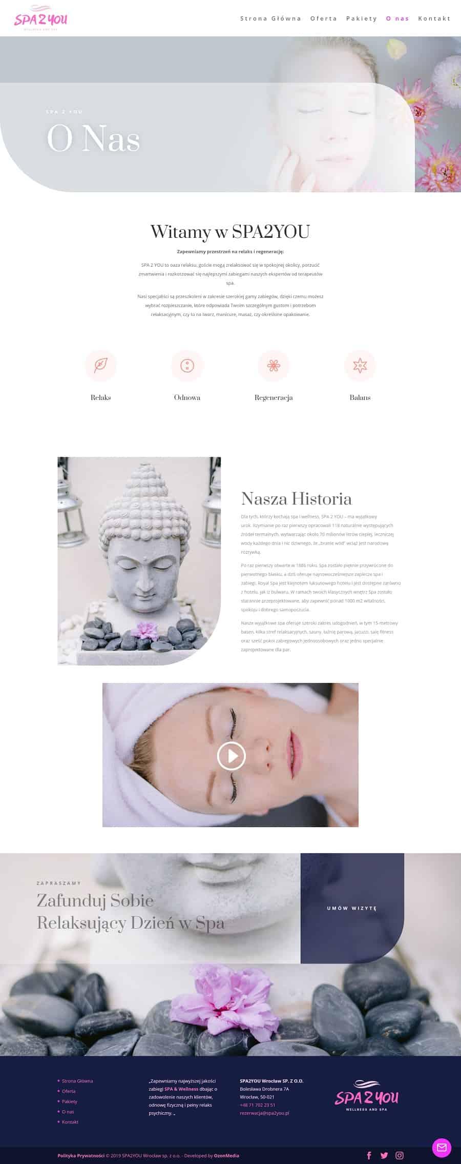 Projekt strony internetowej dla spa i wellness - Agencja Marketingowa OzonMedia