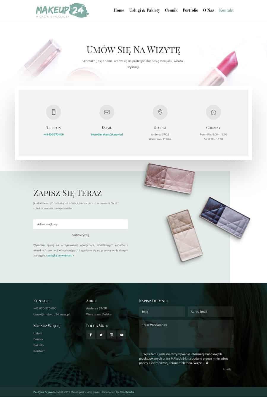 Projekt strony internetowej dla stylistki wizażystki - Agencja Marketingowa OzonMedia