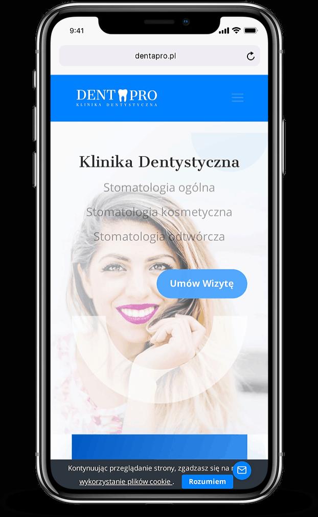 Strona dla Kliniki Dentystycznej - mobile - Agencja Marketingowa OzonMedia z Wrocławia