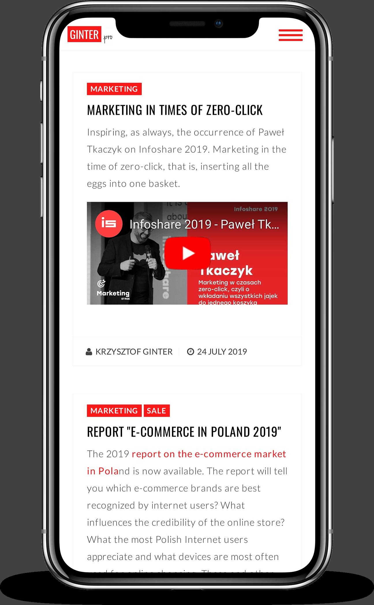 Projekt strony internetowej dla blogera - mobile - Agencja Marketingowa OzonMedia z Wrocławia