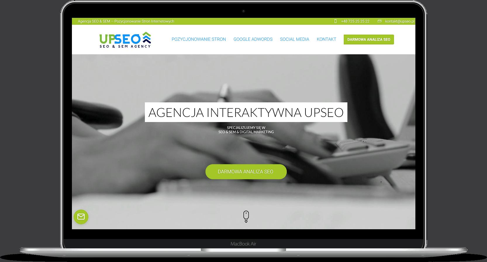 Projekt strony internetowej dla agencji interaktywnej - laptop - Agencja Marketingowa OzonMedia