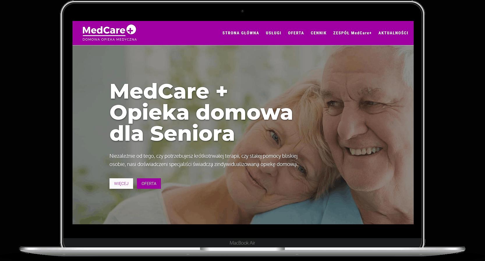 strona internetowa dla centrum opieki nad ozobami starszymi - laptop - OzonMedia