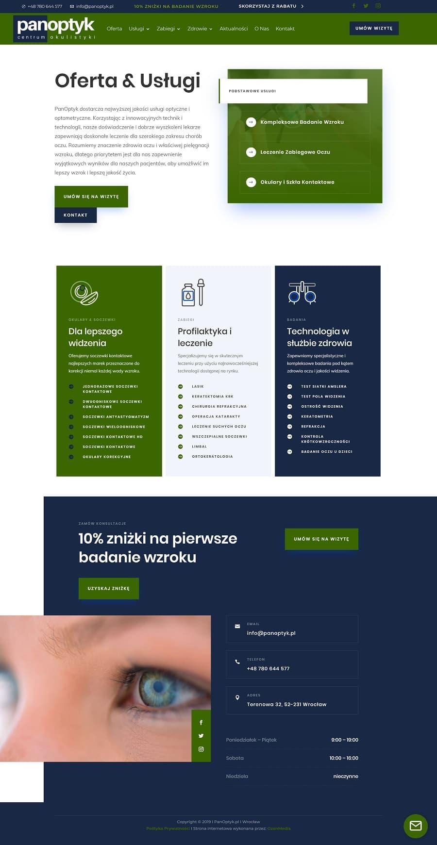 strona internetowa dla okulisty i optometry wroclaw - agencja marketingowa OzonMedia (1)