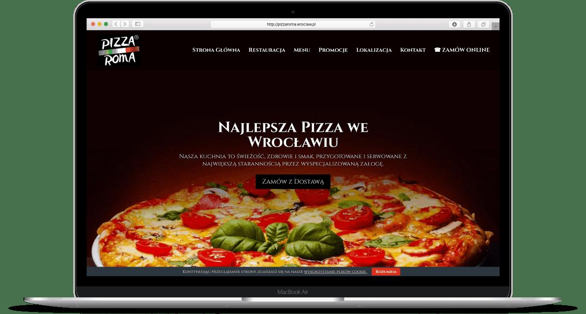 Strona internetowa dla pizzerii - laptop - Agencja Marketingowa OzonMedia