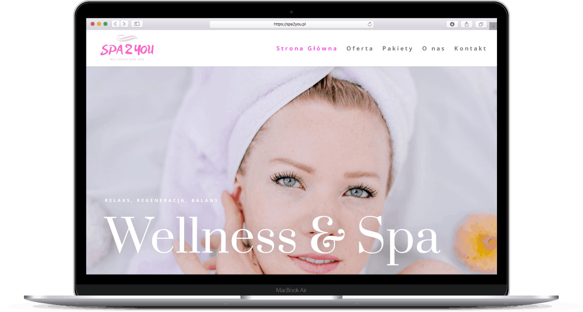 Projekt strony internetowej dla spa i wellness - laptop - Agencja Marketingowa OzonMedia