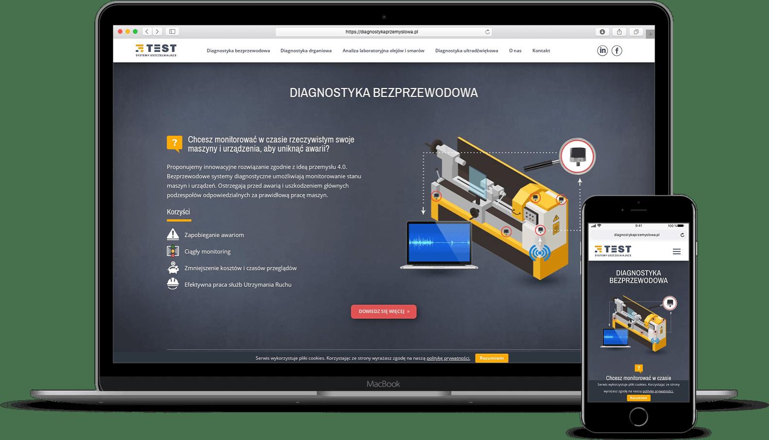 responsywna strona internetowa dla firmy przemysłowej